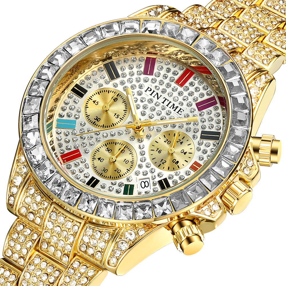2020 Fashion Iced Out Watch Men Chronograph Sport Diamond Mens Watches Luxury Steel Gold Clock Male Wristwatch Relogio Masculino