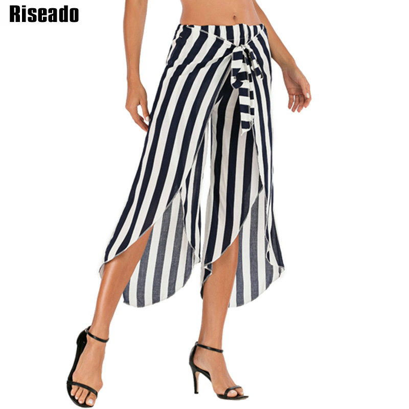 Riseado 2020 New Striped Cover Ups Wide Leg Swimsuit Women Summer Beach Cover Up Kontted Bathing Suit Sexy Long Pants Bathers