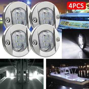 1/4PC DC 12V Waterproof RV Marine Boat Transom 6LED Stern Light Round Stainless Steel Cold White LED Tail Lamp Yacht Accessories