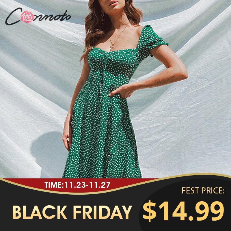 Conmoto Summer Vintage Party Dress Square Collar Ruffle Elegant Sexy Dress Beach Female Green Floral Print Mid Dresses Vestidos|Dresses| - AliExpress