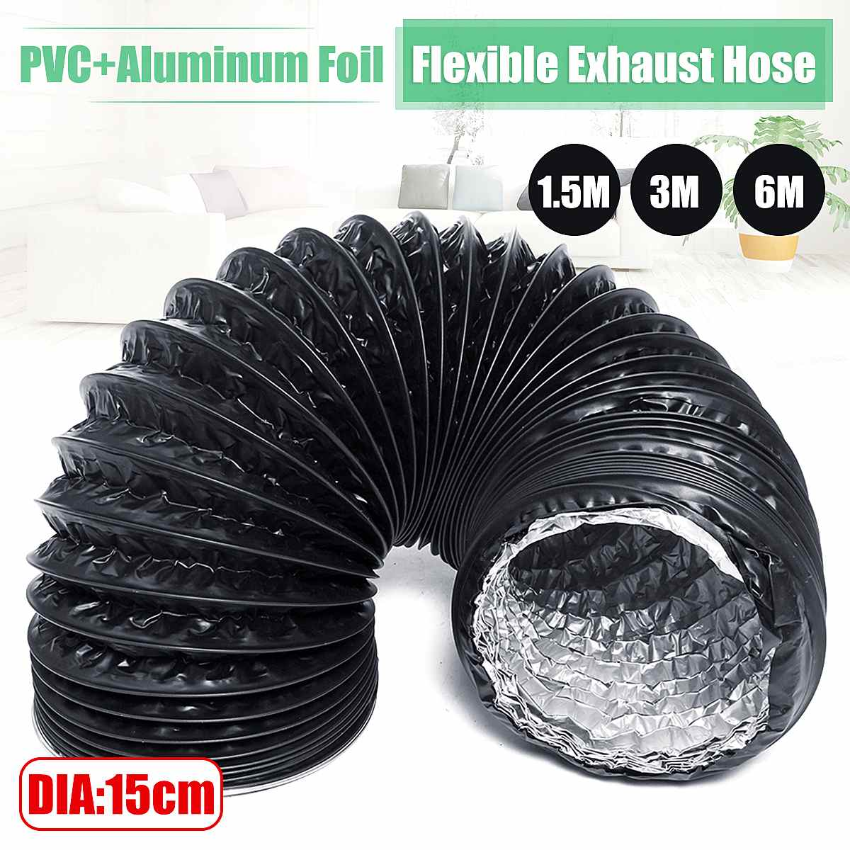 Flexible Exhaust Tube DIA 15cm 1.5M/3M/6M PVC Aluminum Air Ventilation System Ventilator Hose Pipe Kitchen Bathroom Accessories