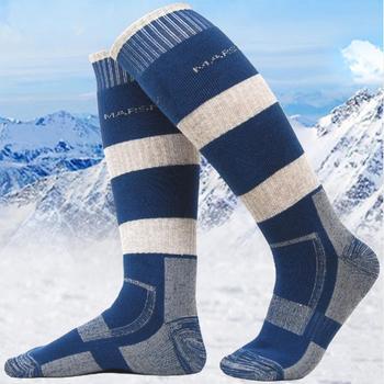 WT01 mężczyźni kobiety narciarstwo skarpety zimowe skarpetki termiczne Outdoor Sports snowboard piesze wycieczki skarpety narciarskie ciepłe grubsze bawełniane tanie i dobre opinie Podkolanówki Skiing Knee-High Cotton Polyester Spandex Dark blue Light grey Pink Men(40-45) Women(35-40)