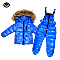 Boys Duck Down Suit 30 degree Russian Kids Warm Snow Set Girl Winter Snowsuit Jacket Hooded+Thickening Jumpsuit Baby Long Coats