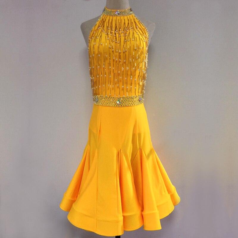 Latin Competition Dance Dress New Women Diamonds Latin Costume Red Color Lady's Standard Samba Rumba Latin Dancing Skirt