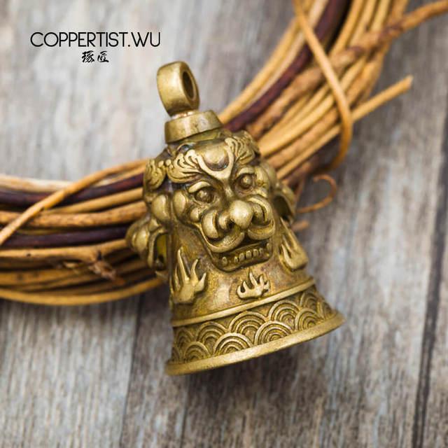 COPPERTIST.WU llavero con campanilla de León de bronce hecho a mano decoración llavero estilos de navegación bolsa colgante Accesorios