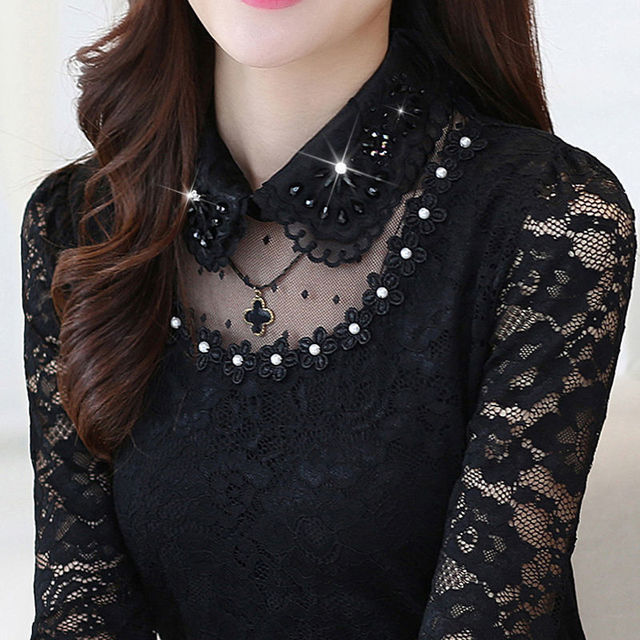2020 Spring Autumn Women Hollow Long Sleeve Fit Lace Bottoming Shirt & Blouse Female Stitching Lace Tops & Blouse Plus Size 4XL 1