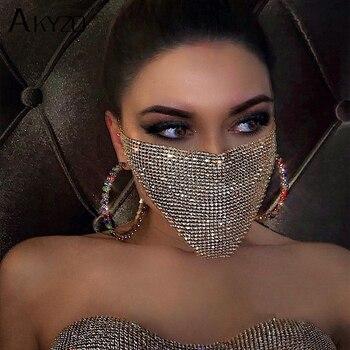 Joyería de cristal para cara de Mascarada, accesorios de fiesta para mujer, red de pesca a la moda, velo con lentejuelas y diamantes de imitación, joyería para el cuerpo, 2020