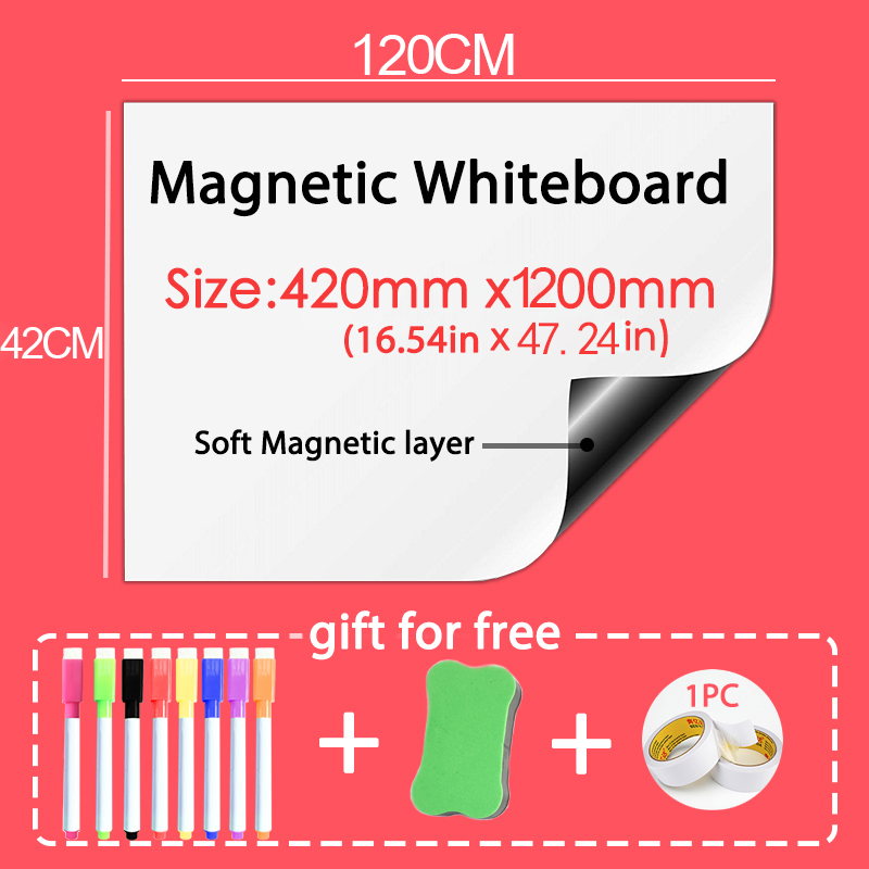 Size 420*1200mm Magnetic Whiteboard Dry Eraser White Board Memo Wall Stickers School Office Magnetic Pad Gift Double-sided Tape