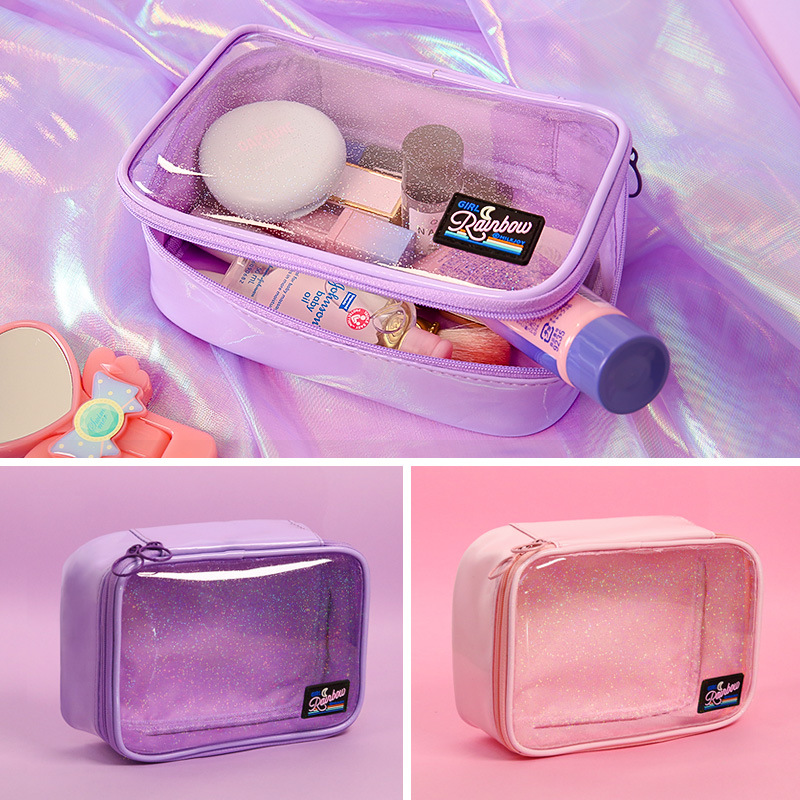 Transparent Moon Rainbow Cosmetic Case PVC Storage Package Waterproof Girls Large Capacity Make Up Bag Women Travel Cosmetic Bag