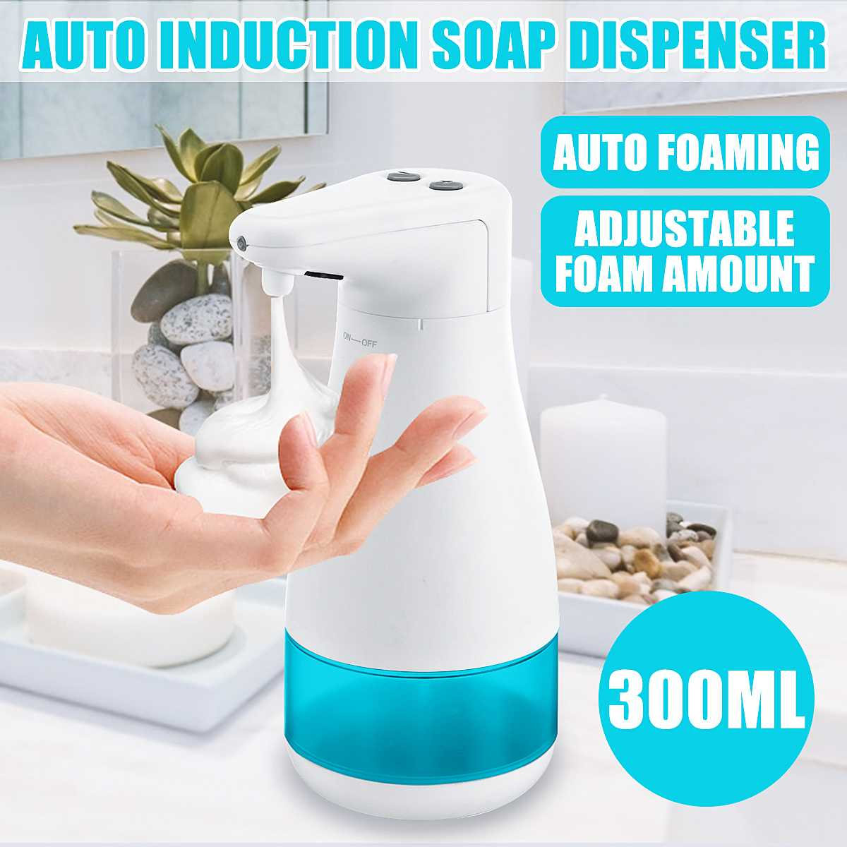 300ml Automatic Liquid Soap Dispenser Smart Transducer Touchless ABS Electroplated Sanitizer Dispensador For Kitchen Bathroom