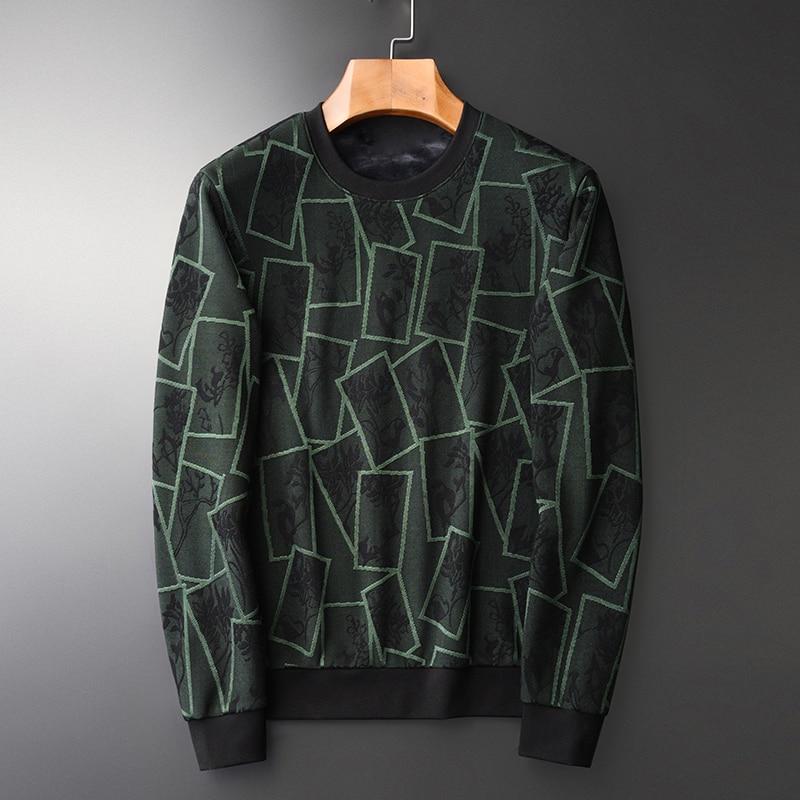 Add Velvet Thick Sweatshirt Men Luxury Round Collar Contrast Color Sweatshirt Male Autumn Winter Thick Mens Hoodies 4XL