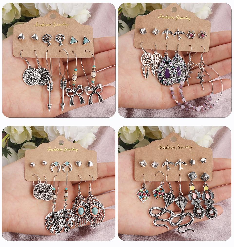 Bohemia Silver Earrings Set Vintage Ethnic Long Round Leaf Tassel Wedding Water Drop Earrings for Women Girls Statement Jewelry (168)