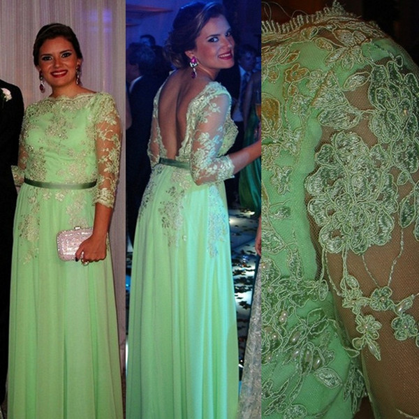 Mint Green Mother Of The Bride Dresses A-line 3/4 Sleeves Chiffon Appliques Beaded Long Groom Mother Dresses For Weddings