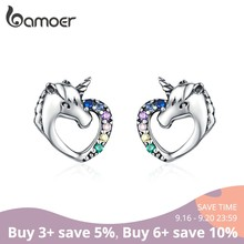 BAMOER Lucky Licorne Stud Earrings for Girl Multicolor Horse Ear Studs 925 Sterling Silver Anti-allergy Jewelry for Kids SCE611(China)