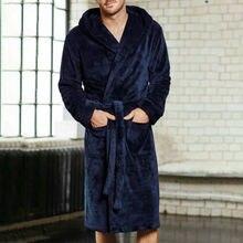 Мужская Повседневная зимняя длинная Пижама с v-образным вырезом Мягкие халаты шаль флисовый банный Халат Спа-халат плюшевый платок кимоно теплый мужской Халат пальто