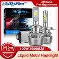 100W 25000LM Жидкий металл H7 светодиодный Canbus H1 H4 светодиодный фары лампы H8 H11 9005 HB3 9006 HB4 CSP Автомобильные фары Turbo автомобильные лампы