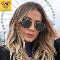 Gafas de sol hexagonales cuadradas de 2020 para hombres gafas de sol de marco metálico para mujeres gafas de pesca de oro gris gafas de sol hombre