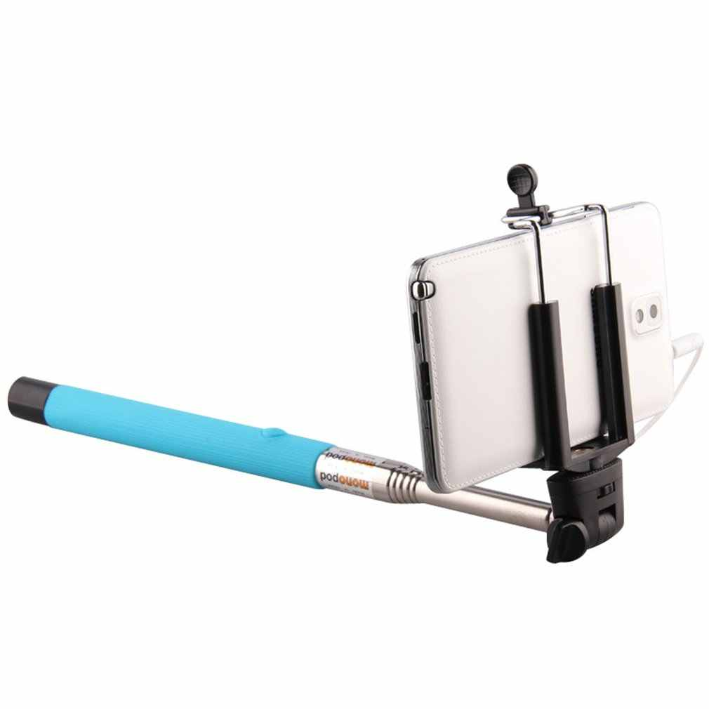 Portable Hand Cable Holder Extendable Selfie Stick Creative Folding Self Timer Rod with Mirror