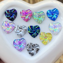 DIY 50 adet yeni moda stil kalp ve çiçek taklidi AB reçine Flatback 10mm manevra değerli taşlar kristal düğün dekorasyon
