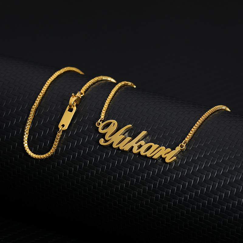 Custom Name Choker Necklace Men Silver Gold Chain Stainless Steel Box Chain Personalized Nameplate Mujer Bridesmaids Gifts BFF