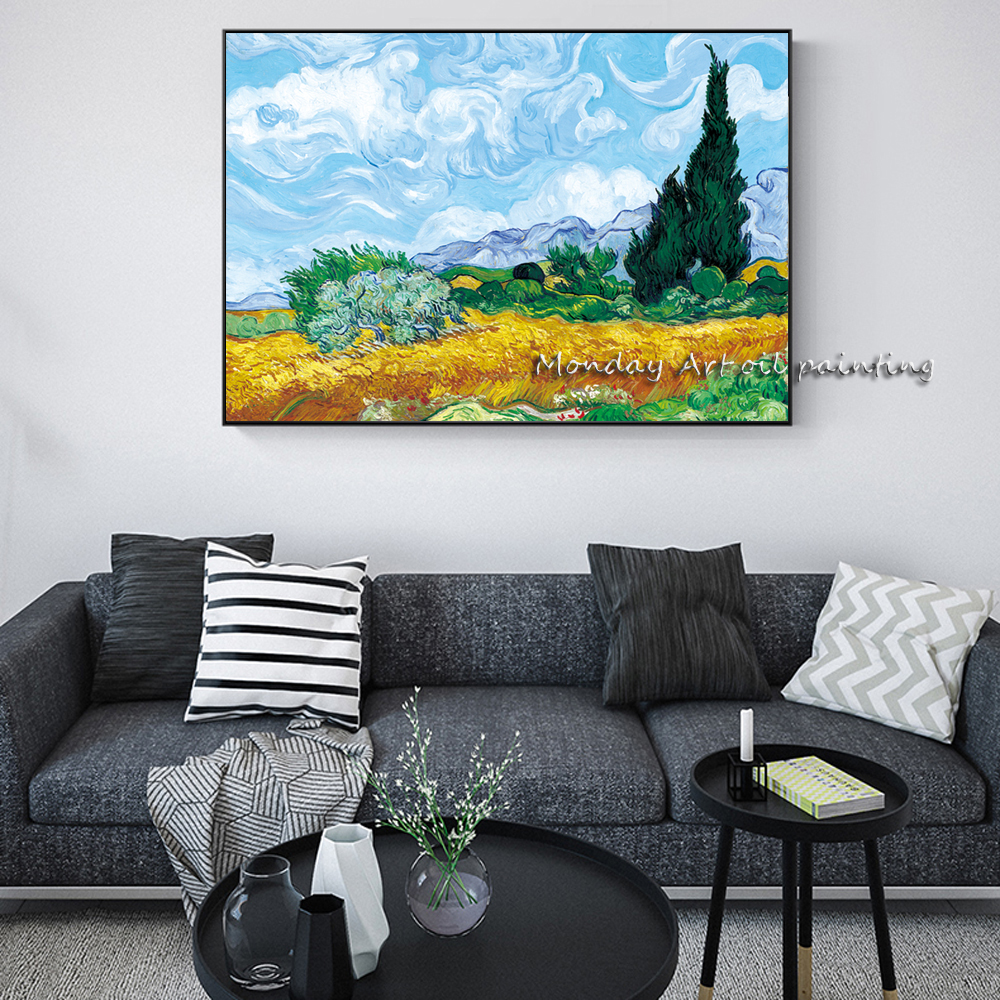 A Wheatfield-With-Cypresses-By-Van-Gogh-Painting-Replica-On-The-Wall-Impressionist-Landscape-Wall-Art-Canvas (2)副本