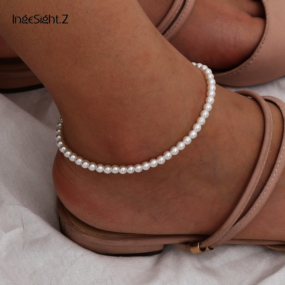 IngeSight.Z Bohemian Imitation Pearl Anklet Bracelet Summer Beach Simple Anklets On Foot Barefoot Sandals for Women Jewelry Gift