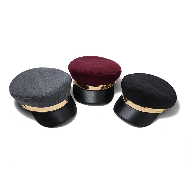 Fashion Hairy Wool Beret hat Military Caps Winter Hats for Female Flat Hats Army Salior Military Hat Octagonal cap