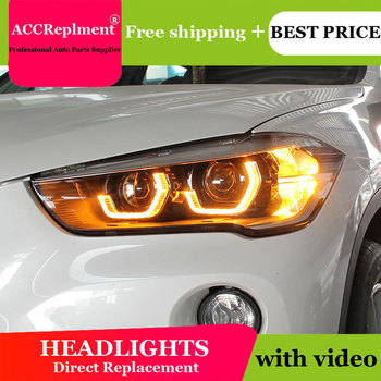 Car Styling LED Head Lamp for BMW X1 headlights 2016-2020 For X1 LED H7 hid Q5 Bi-Xenon Lens low beam