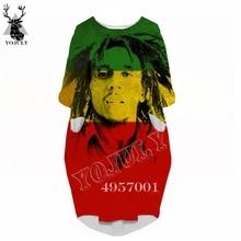Women Fashion Hip hop Casual Funny Dress Ms Over the knee Long sleeve dress Bob Marley 3D Printed Harajuku Women's clothing V17