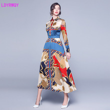 2019 autumn new womens European and American temperament lapel fashion print long-sleeved Slim long dress