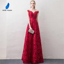 DEERVEADO kısa kollu abiye uzun kadın durum parti elbiseler resmi elbise gece elbisesi Robe De Soiree XYG822