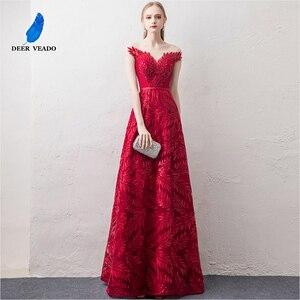 Image 1 - DEERVEADO קצר שרוולים ערב שמלות ארוך אישה אירוע מסיבת שמלות רשמיות שמלת ערב שמלת חלוק דה Soiree XYG822