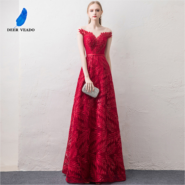 DEERVEADO קצר שרוולים ערב שמלות ארוך אישה אירוע מסיבת שמלות רשמיות שמלת ערב שמלת חלוק דה Soiree XYG822