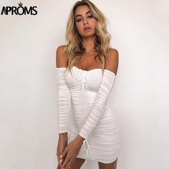 Aproms Black Ruched Pleated Short Dress 2020 Winter Club Women Sheath Bodycon Dresses Sexy Off Shoulder Mini Dress Vestidos