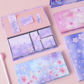 Cherry blossoms cat dog Sticky Notes set Memo Pad Diary Stationary Flakes Scrapbook Decorative Cute Starry sky N Times Sticky