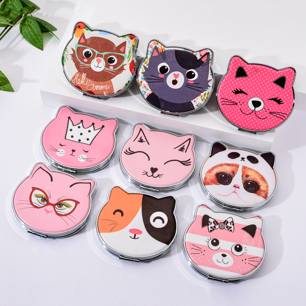 Vicney 2019 New Fashion Cat Element Cute Cartoon Double Side Mirror Pocket Mirror Girls Mini Make Up Mirror Beauty Mirror in Makeup Mirrors from Beauty Health