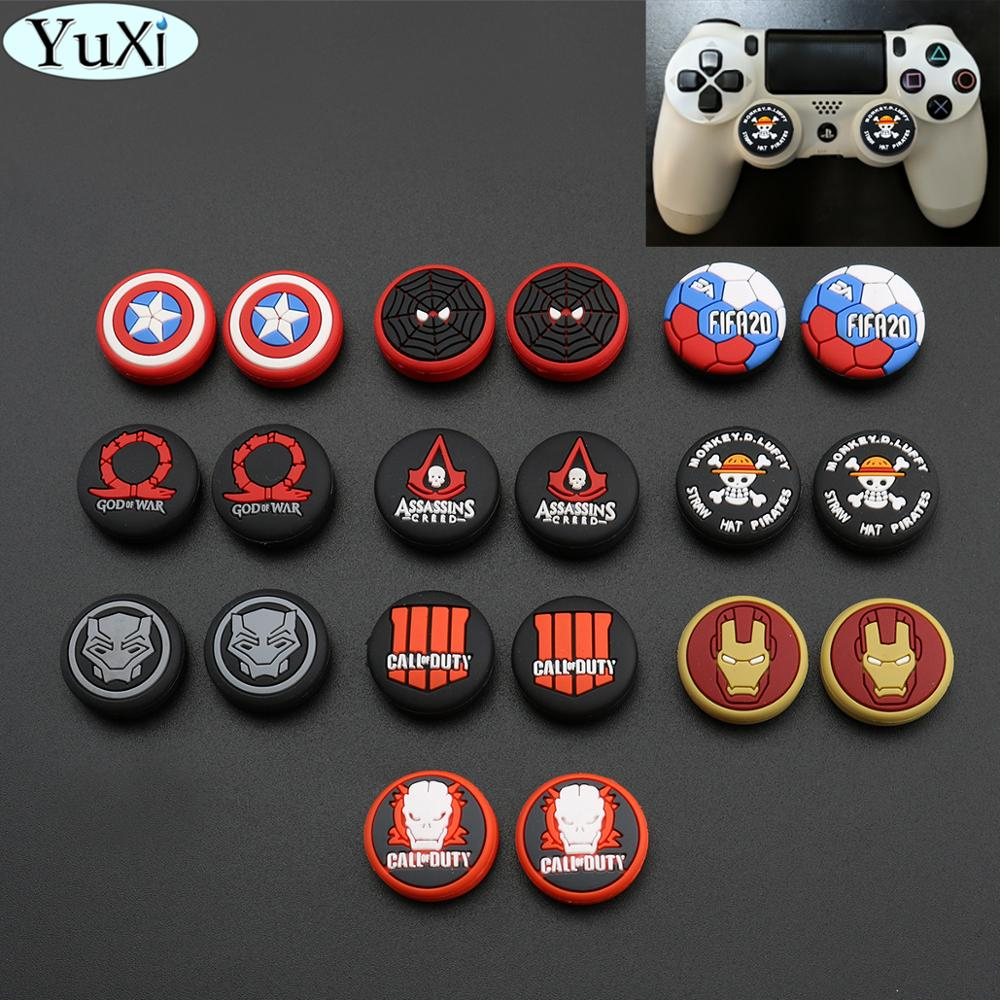YuXi Silicone Avengers Spiderman Thumb Grip Cap Stick Joystick Cover Case For Sony PS3 PS4 Slim For Xbox One 360 For Switch Pro
