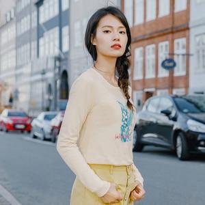 Image 3 - INMAN 2020 printemps nouveauté pur et frais col rond imprimé brodé coton à manches longues T shirt femme