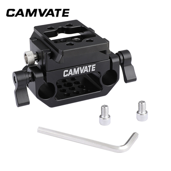 CAMVATE Manfrotto Quick Release Sliding Mount & Adapter Plate With 15mm Dual Rod Clamp Base For DSLR Camera Cage Kit C2288