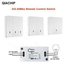 QIACHIP Interruptor de Control remoto inalámbrico, receptor de pared, transmisor remoto, luces de techo para salón y dormitorio, CA 110V 220V