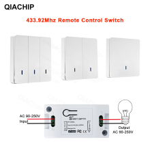 QIACHIP Wireless Remote Control Switch Controller AC 110V 220V Receiver Wall Remote Transmitter Hall Bedroom Ceiling Lights