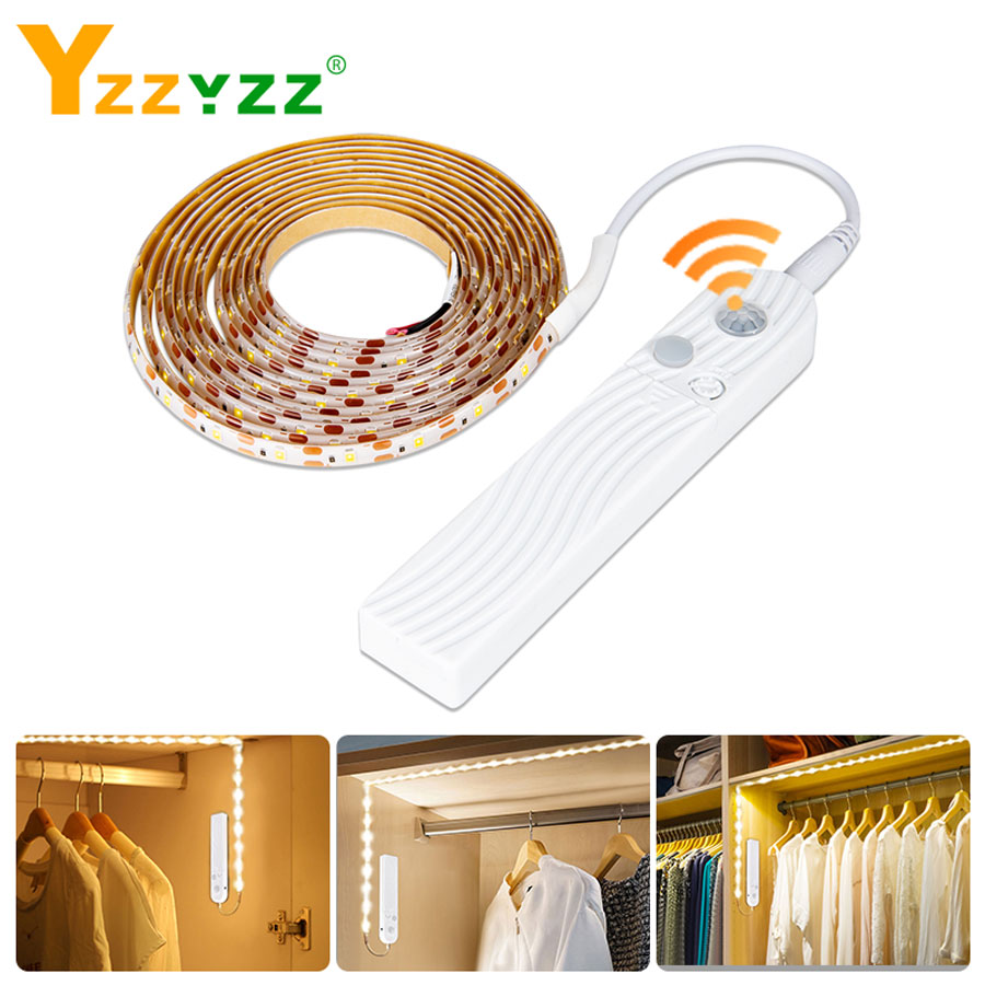 5V 2835 LED Cabinet Light LED Strip Lights Wireless 1m 2m 3m PIR Motion Sensor Flexible Led Cabinet Lamp For Closet Bedroom Deco