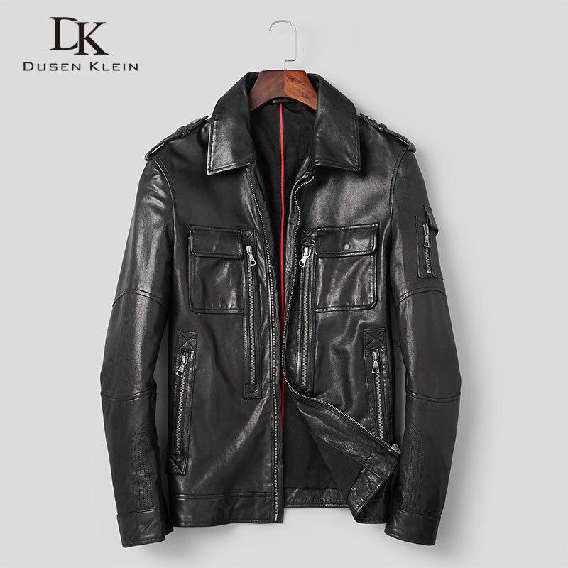 Men Genuine Leather Jacket Real Sheepskin Jackets Casual Short Black Pockets 2020 Autumn New Jacket For Man Washed Leather S9020