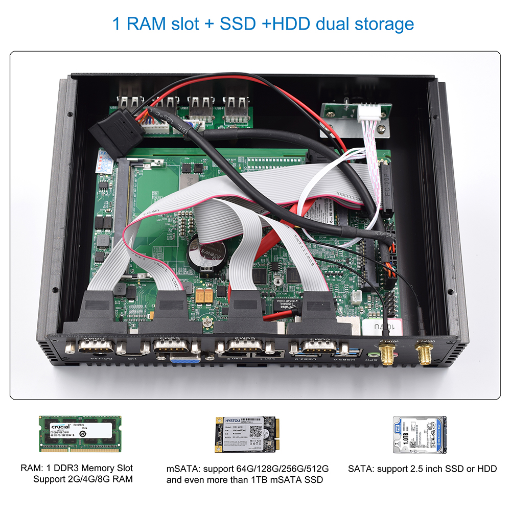 Fanless Industrial Mini PC with HDMI and VGA Dual Display Supports Linux Windows 7/8/10 for Office and Personal Use 11