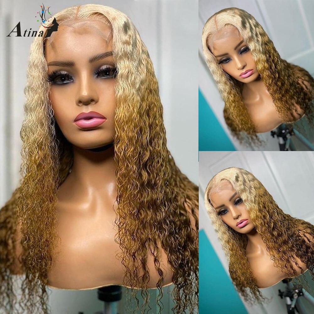 Atina-peluca prearrancada sin pegamento, cabello rizado Rubio 613, marrón, HD, transparente, encaje Frontal, pelucas de cabello humano, nudos blanqueados de onda de agua