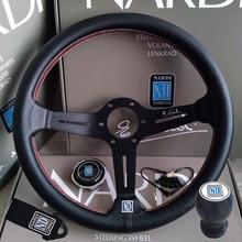 אוניברסלי 14 אינץ ND עור מרוצי מכוניות הגה Shift Knob עמוק תירס נסחף הגה ספורט עם לוגו