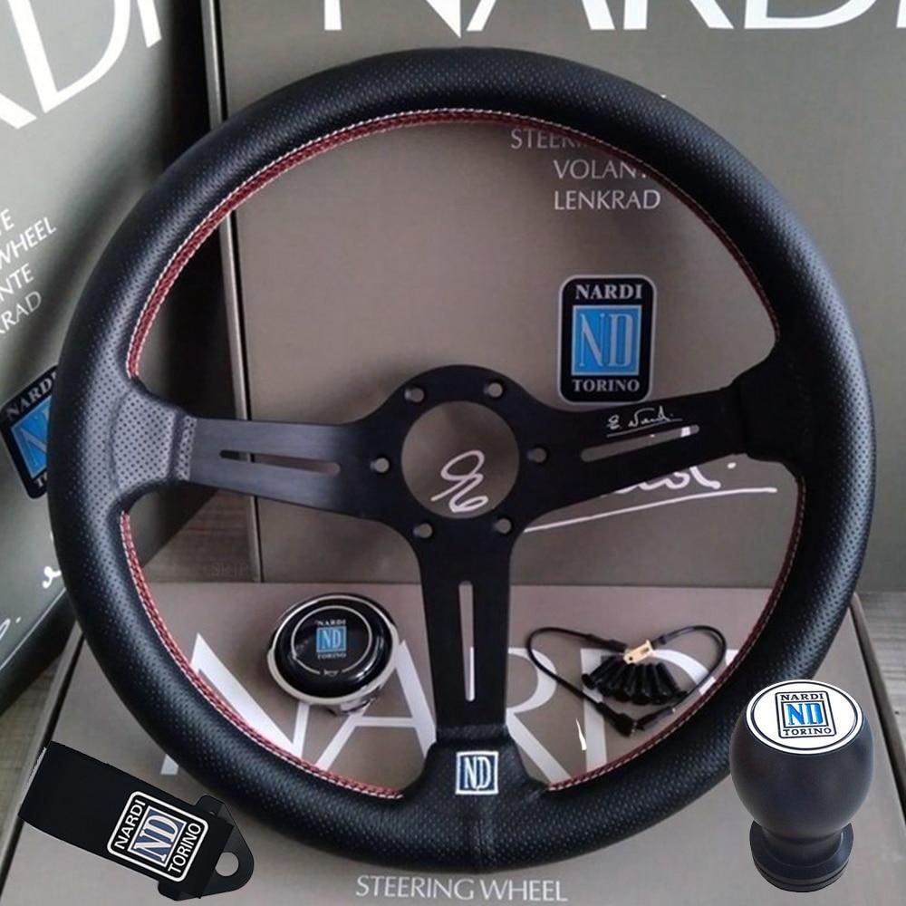 Universal 14 Inch 350mm ND Leather Auto Racing Steering Wheel Deep Corn Drifting Sport Steering Wheel