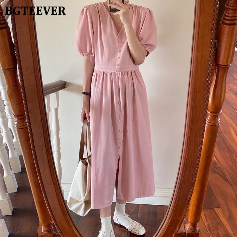 BGTEEVER Casual V-neck Single-breasted Mid-length Dress Women Summer Short Sleeve A-line Slim Waist Female Dress Vestidos 2020