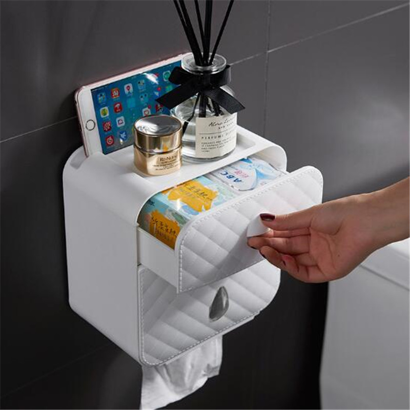 Wonderlife Bathroom Roll Holder 1 Piece Waterproof No Drill White Paper Holder