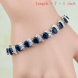 Image 2 - הפרזה כחול זירקון אבן לבן CZ 925 כסף סטרלינג נשים חתונה עגילים/תליון/שרשרת/טבעות/צמיד